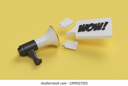 3d illustration. WOW! message with megaphone. Speech bubble with wow inside. 3d illustration.