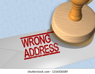 3D illustration of WRONG ADDRESS stamp title on a letter envelope