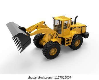 3d illustration of a yellow bulldozer