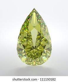 3D illustration of yellow diamond isolated on white background