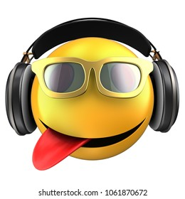 3d illustration of yellow emoticon smile with black headphones over white background