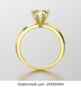 3D illustration yellow gold traditional solitaire engagement diamond  ring with reflection on a grey background