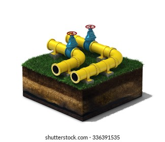 3d illustration of yellow pipeline with blue valves on section of land, isolated on white background