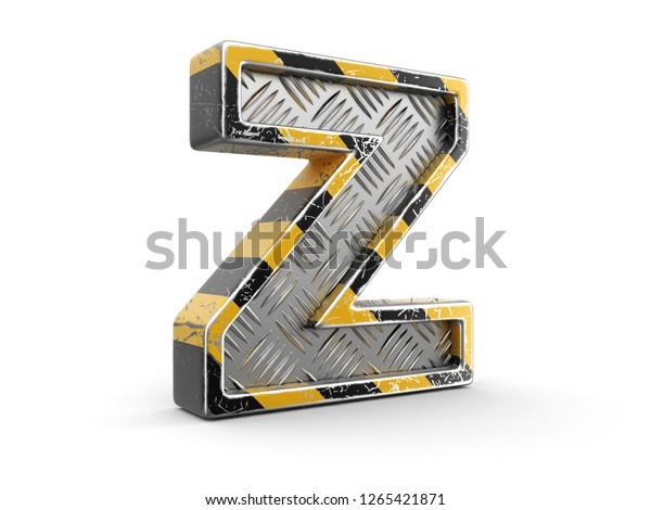 3d Illustration Yellow Striped Metallic Font Stock