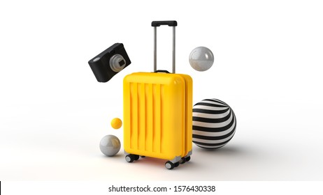 3d illustration. Yellow suitcase and a camera and colorful balloons. Travel concept