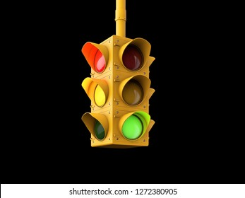 3d Illustration of yellow traffic lights isolated on black