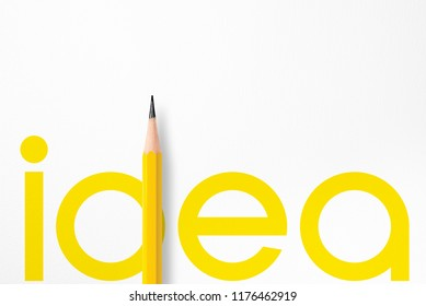 3D illustration of yellow typography idea composition tightly interacting to photo of yellow pencil put on white paper with copy space that look minimalist. Flash light made smooth lighting on pencil.