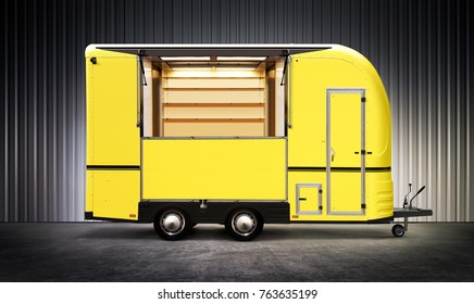3D illustration of yelow food truck on street at night
