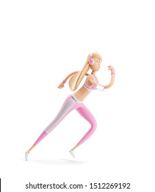 3d illustration. Young girl cartoon character. Sport, yoga and fitness concept. A girl runs around listening to music in headphones.