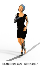 3D Illustration of a Young Woman With a Black Dress and Prosthetics