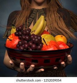 A 3d illustration of a young woman holding a bowl of fresh fruits. Holding them out to the camera.
