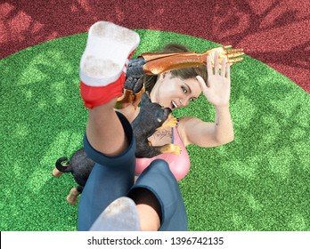 3D Illustration of a Young Woman Playing With a Puppy