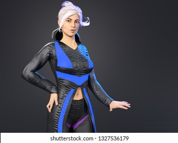 3D Illustration of a Young Woman with White Hair