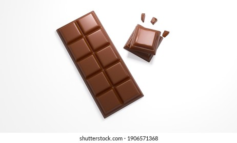 3d illustration of yummy chocolate pieces and bar on white background