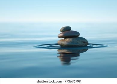 3D Illustration of Zen stones, background ocean for the perfect meditation