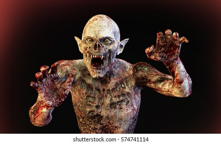 3D Illustration of a zombie vampire monster render