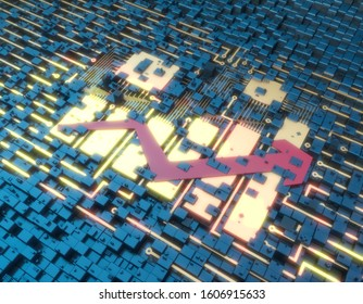 3D illustration,Circuit board technology and arrow histogram, technology finance and big data storage technology, career success and economic success