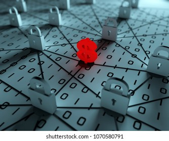 3D illustration,Cyber blockade and currency symbols
