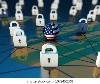 3D illustration,Cyber Blockade and United States
