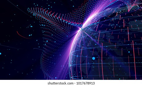 3D illustration,Future science and technology, the universe planet, the Internet