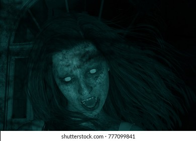 3d illustration,Ghost woman face in the dark