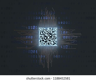 3D illustration,Intelligent technology QR code, data identification and information transmission, electronic technology and two-dimensional code recognition