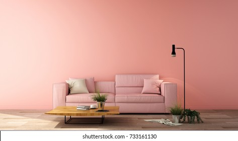 3d illustration,interior design for living area or reception in modern style with sofa, side table,plant on wood floor and light pink wall
