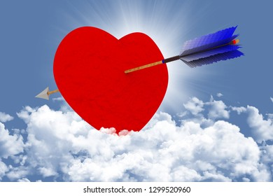 3D illustration.Love. Valentine's day. Heart pierced by an arrow in the sky, in the clouds, to symbolize love.