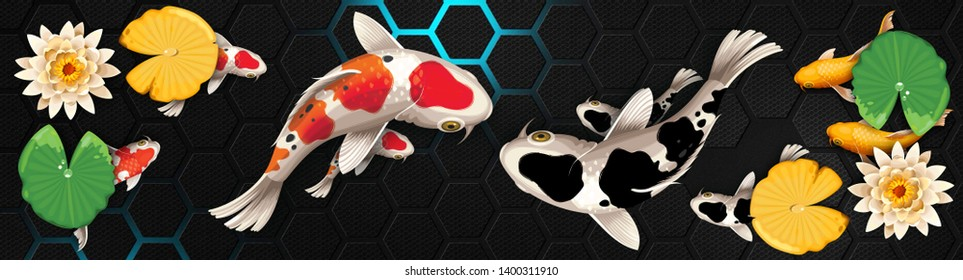 3D illustrations, colorful background of traditional carp, home decoration ideas and feng shui