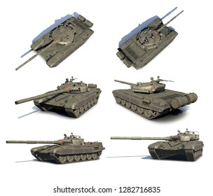 3D illustrations set of Russian main battle tank T-72