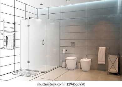 3D illustrations. The sketch of the modern showers becomes a real interior