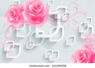 3d illustrations,Colorful Wall Decoration Pink Rose Wall Tile Designs.