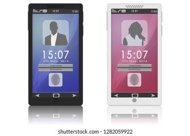 3D illustration.Tablet smartphone template isolated on white background. Home page with login and passwors.