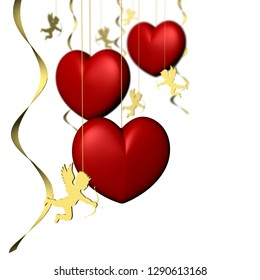 3D illustration.Valentine's day. red hearts with space for text.