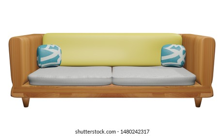 (3D illustration)Wood Sofa and Pillow in white background