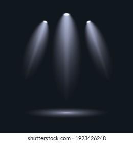 3D illustraton white spotlight effects.