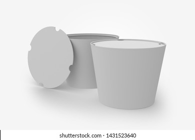 3D illustrator Blank black and white food bucket mockup isolated. Empty pail fast food front side view. Paper chicken bucketful design mock up. Clear popcorn box template