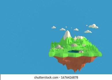 3D illustrator High mountains, snow-capped peaks. 3d rendering low polygon geometry background. Abstract polygonal geometric Shape. Lowpoly minimal style art.