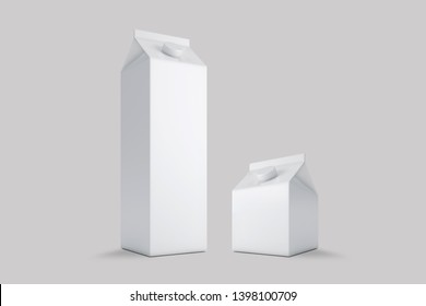 3D illustrator Milk and Juice Carton Packaging on white background
