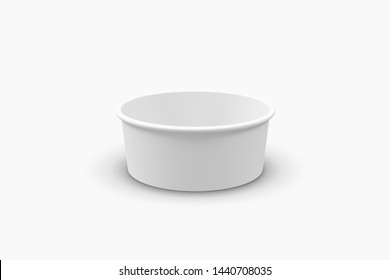 3D illustrator Paper food container with plastic lid isolated on white background