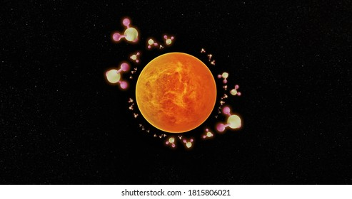 3d illustratorVenus isolated on a black background with phosphine.The phosphorus was detected in the atmosphere of Venus. And indicators of possible life.This element of this image was adorned by NASA