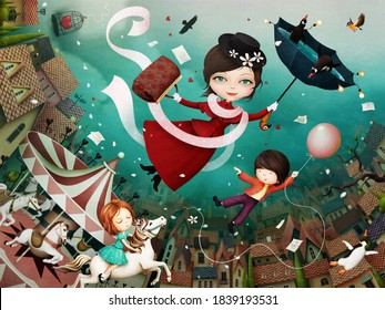 3D image, Bright fairytale illustration based on  tale of  cheerful nanny Mary Poppins and her friends.