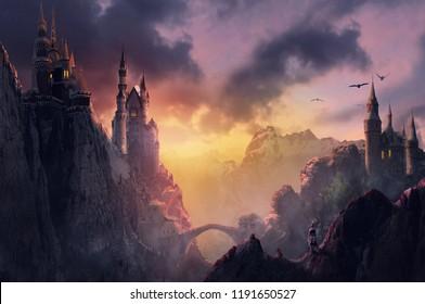 3d изображение замок на горе с закатом