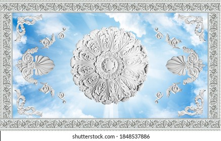 3D image ceiling painting in Baroque style with stucco ornaments in the blue sky.