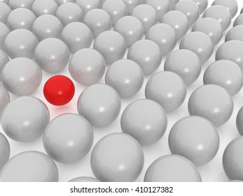 3d image of concept of difference with balls.