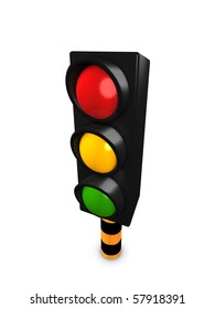 3d image, Concept Traffic stop light, isolated over white background