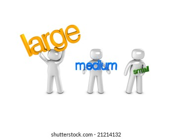 3d image, conceptual - size: large, medium, small