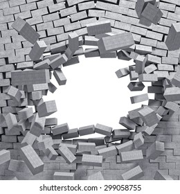 3d image concrete breaking wall
