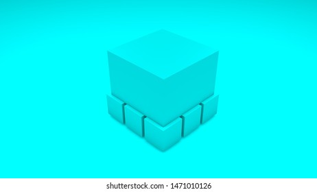 3D image of a cube on a blue background. Cube Isolated with small cubes. 3D rendering of a geometrically regular object.