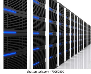 3d image of datacentre with lots of server